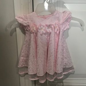 Pink floral bonnie baby dress size 3-6 months